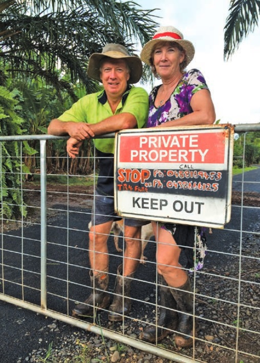Peter and Vivien Grant were quick to put in gates and signage after news of TR4's arrival in northern Queensland.