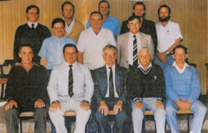 Front Row (L–R): Keith Keillor, Lachie Rick, Deputy Chairman, Jim Dobson, Chairman, Neville Smith, General. Middle Row (L–R): Ross Boyle, Assistant Secretary, Bill Nelson, Bill Thisletwaithe. Back Row (L–R): Bob Seaman, Secretary, Geof Bush, Bob Brighton, Barry Kanowski.