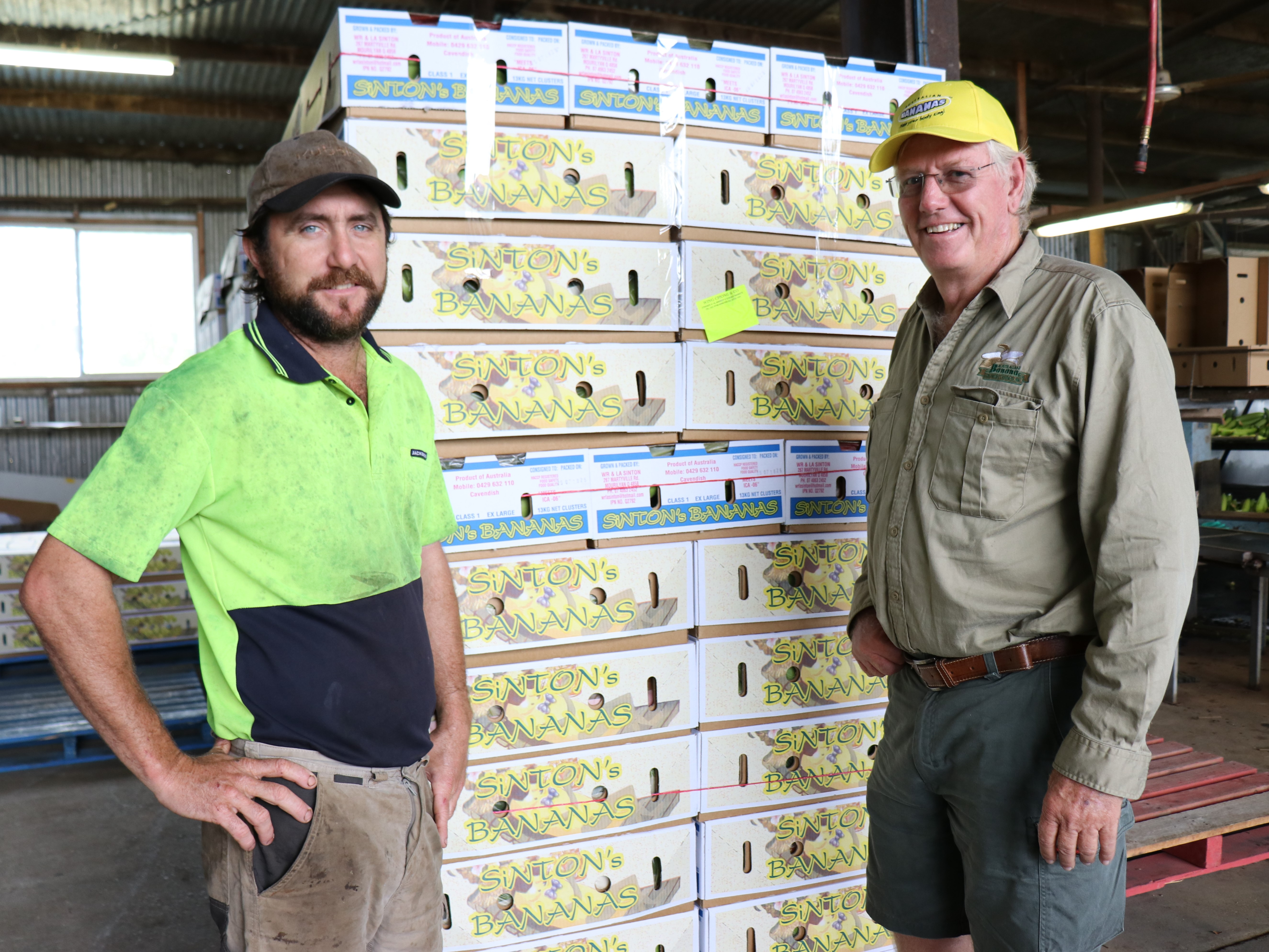 Cassowary Coast Banana Growers' Association  Chair Dean Sinton on farm with Louis Lardi.