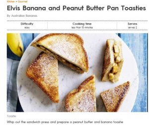 Elvis Banana and Peanut Butter Pan Toasties