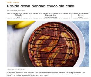 Upside Down Banana Choc Cake