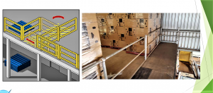 4. Examples of fixed railings and gates to reduce the risk of falls from mezzanine floors.