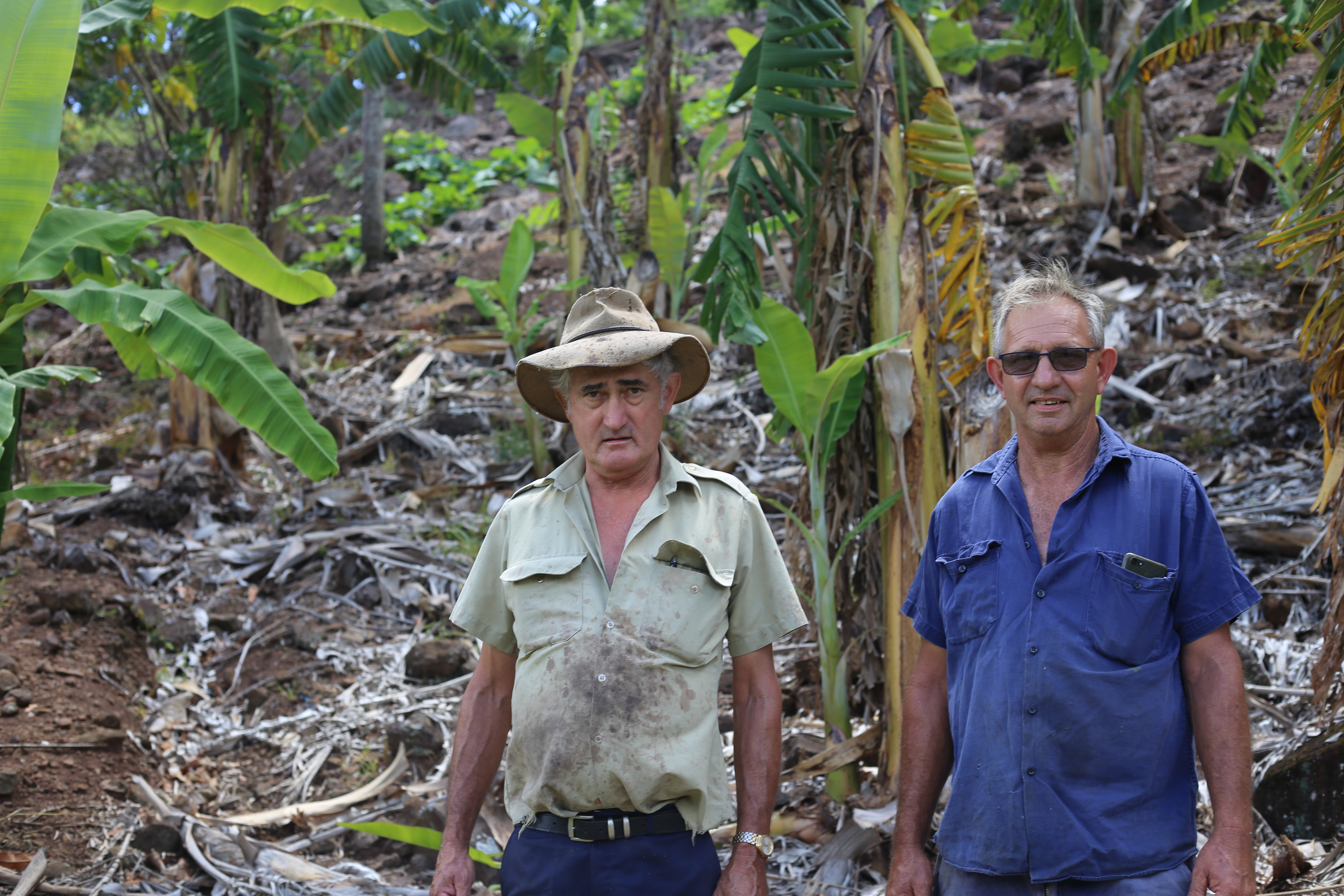 Brothers Brian and Ian Luxton on their property in South East Queensland.