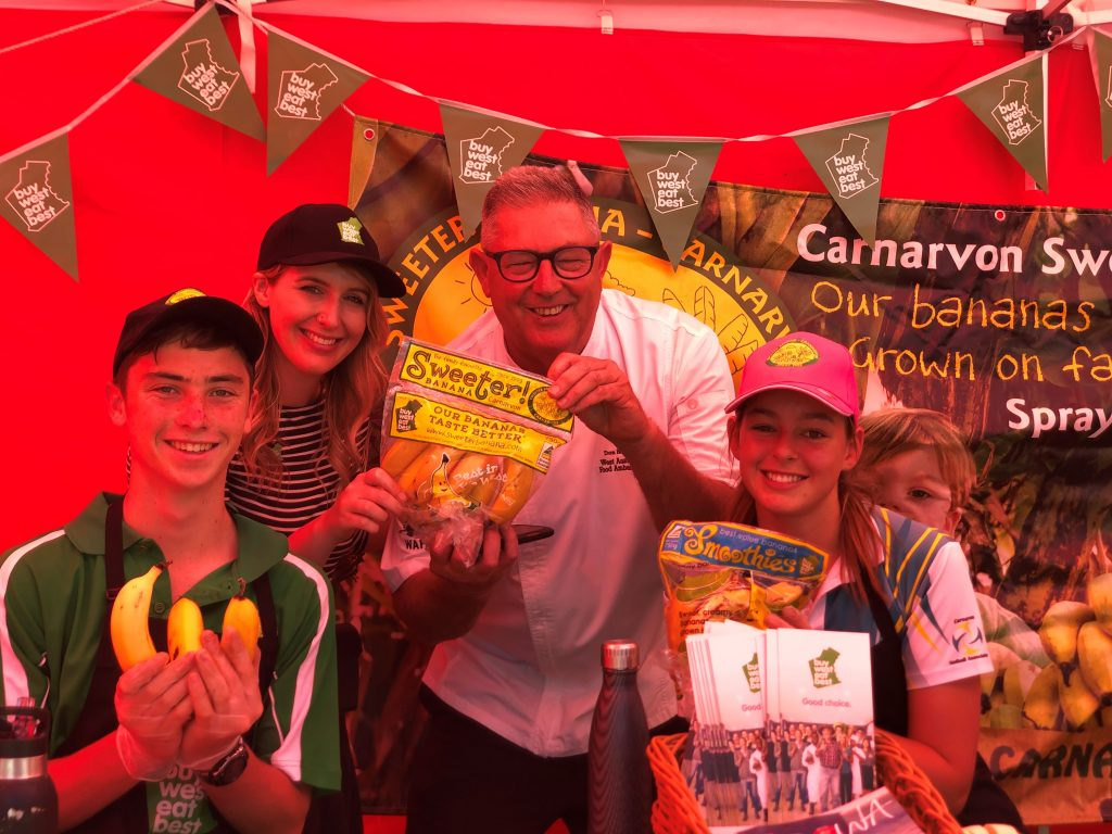 WA Food Ambassador Don Hancey at the Sweeter stall. Image: Sweeter Banana Co-Operative