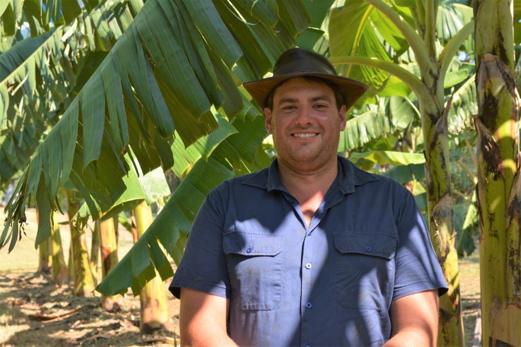 Zac McKeever, who grows bananas in the Tweed area, is now working at the Duranbah trial site.