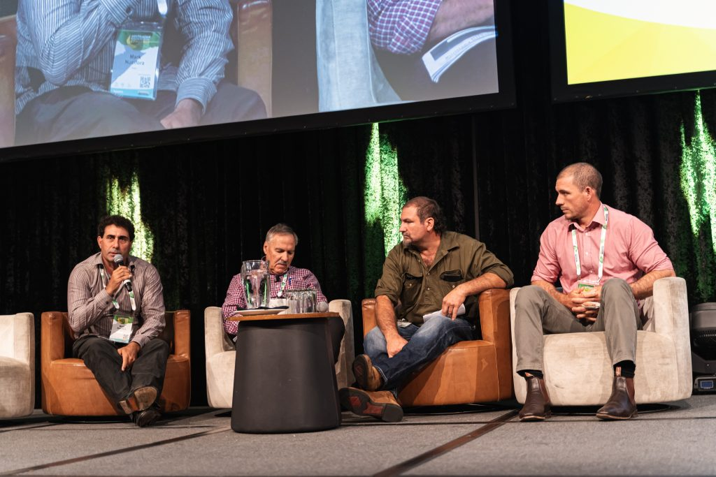 L-R Far North Queensland growers Mark Nucifora, Peter Inderbitzin, Rob Zahra and Matt Abbott during the Grower Innovation Panel.