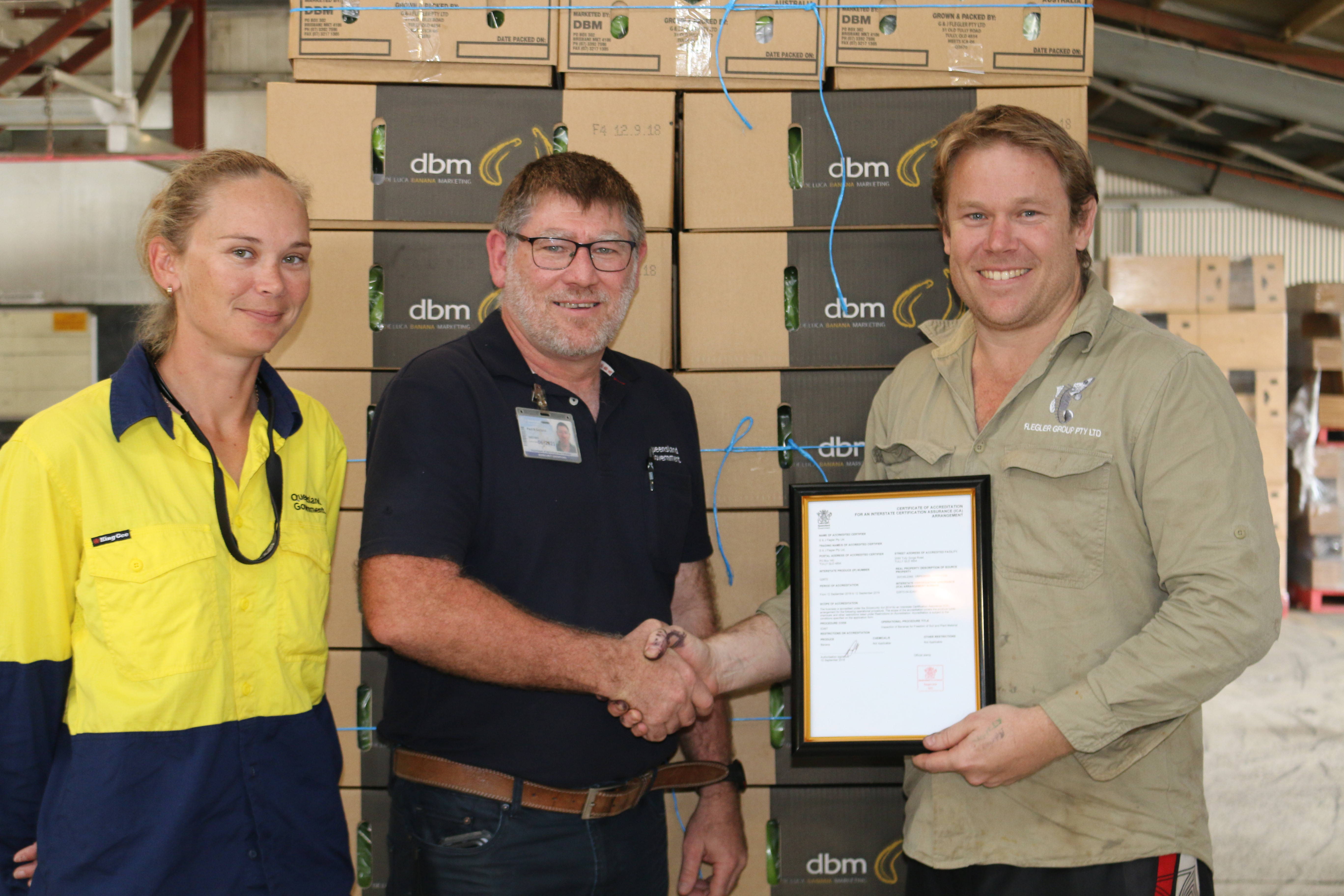 Tully grower Warwick Flegler (pictured right) receiving his Interstate Certification Assurance (ICA) Accreditation allowing him to certify his own fruit consignments. He is pictured with BQ Compliance Officer Jess Portsch and BQ Compliance Manager Paul Garland.