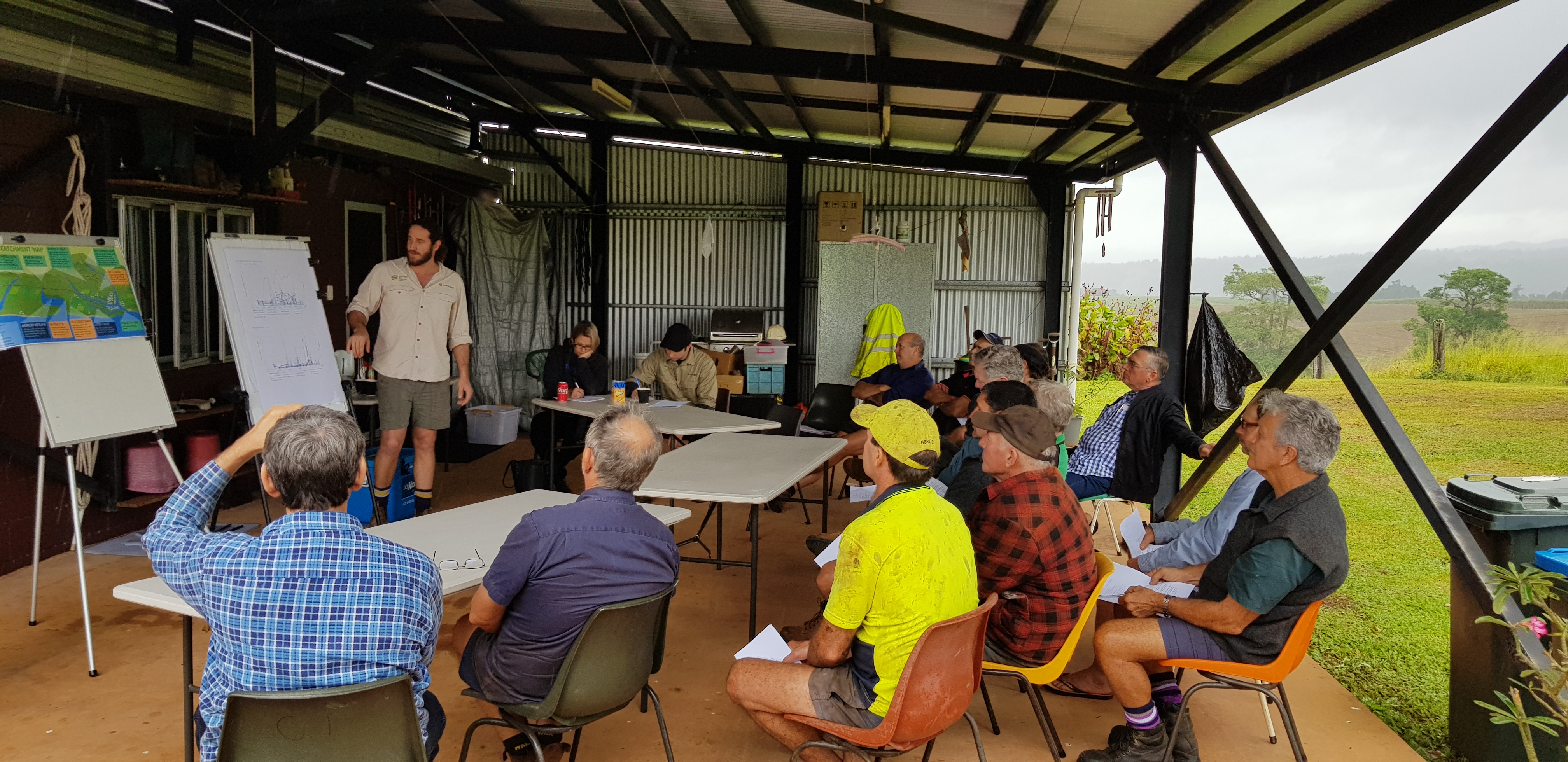 Water quality results being presented to growers at a shed meeting.