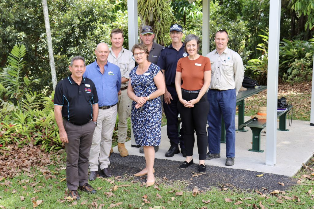 Cassowary Coast Regional Council Mayor John Kremastos, Australian Banana Growers Council Deputy Chair Leon Collins and Tully Police Officer Rod Stanley with Cassowary Coast Panama Disease Tropical Race 4 (TR4) Feral Pig Program agency stakeholders.
