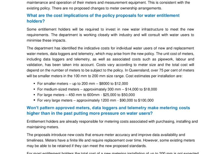 Costs FAQs_Non-urban water proposal