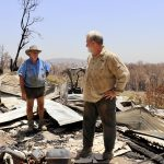 David Cotton surveys the damage on his farm with fellow grower and ABGC Director Stephen Spear.