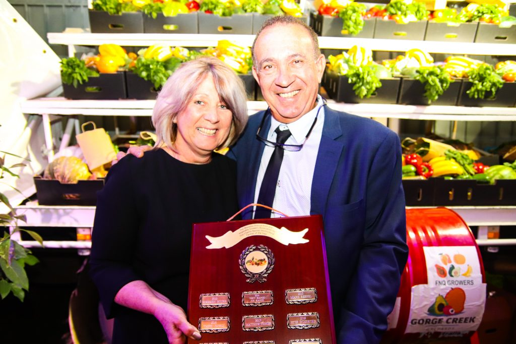 Dianne and Frank Sciacca with the prestigious Charlie Nastasi Horticultural Farmer of the Year Award.