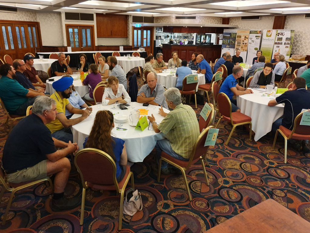 Growers and researchers participate in round-the-table discussions on a range of R&D topics.