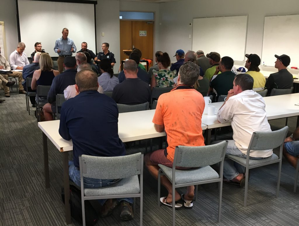 Growers gathered at South Johnstone on October 18 to hear from Queensland Police about their legal rights to help prosecute people illegally entering their banana farms.