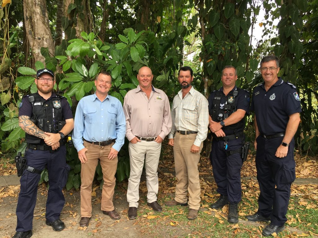 United front – Addressing a meeting of banana growers at South Johnstone on October 18 were (from L-R) Officer in Charge of South Johnstone police station Snr Constable Adam Wood, Detective Acting Sgt Dale Lumma (Mareeba Stock Squad), ABGC Deputy Chair Leon Collins, Constable Michael Hinchcliffe (Mareeba Stock Squad), Snr Constable Cameron Fell (Silkwood Police station) and Officer in Charge of Tully police station Sgt Rod Stanley.